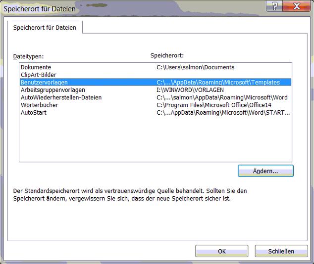 Dokumentenverwaltung organice knowledge base for Appdata roaming microsoft templates